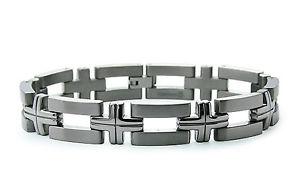 【送料無料】メンズブレスレット チタンクロスリンクブレスレット85titanium grooved cross link bracelet 85