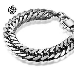 【送料無料】メンズブレスレット bikiesステンレス245mmsilver bracelet bikies chain chunky heavy stainless steel 245mm long