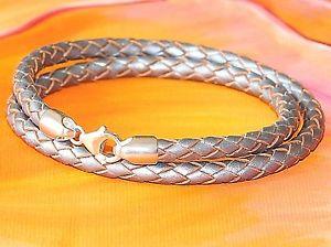 【送料無料】メンズブレスレット メンズレディースシルバーレザースターリングシルバーブレスレットライムベイアートmensladies 5mm silver braided leather amp; sterling silver bracelet lyme bay art
