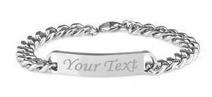 【送料無料】メンズブレスレット mens9ステンレスブレスレットengravedpersonalised mens solid stainless steel curb chain identity bracelet 9 engraved