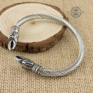 【送料無料】メンズブレスレット バイキングブレスレットスプリングステンレスノルウェーviking raven bracelet adjustable spring stainless steel norse arm ring