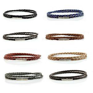 【送料無料】メンズブレスレット レザーレザーダブルラップ3mm braided leather amp; sterling silver braceletgenuine double wrapped leather