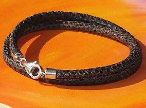 【送料無料】メンズブレスレット メンズレディースブラウンスネークプリントレザースターリングシルバーブレスレットライムベイアートmens ladies brown snakeprint leather amp; sterling silver bracelet lyme ba