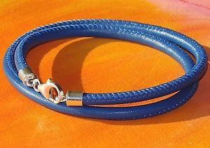 【送料無料】メンズブレスレット メンズレディースナッパレザーライムベイアートスターリングシルバーブレスレットmens ladies 4mm blue nappa leather amp; sterling silver bracelet by lyme bay art