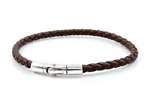 【送料無料】メンズブレスレット メンズレディースナッパレザーアンプmens ladies braided nappa leather amp; sterling silver braceletbrown