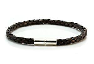 【送料無料】メンズブレスレット メンズレディースブラウンmensladies 5mm braided leather braceletsterling silver claspantique brown