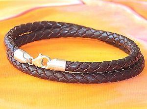 【送料無料】メンズブレスレット メンズレディースレザースターリングシルバーブレスレットライムベイアートmens ladies 5mm brown braided leather amp; sterling silver bracelet lyme bay art