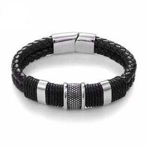 【送料無料】メンズブレスレット mensレザーブレスレットステンレスクリスマスmens leather bracelet engraved stainless steel clasp personalised christmas gift