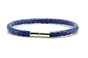 【送料無料】メンズブレスレット mens5mmレザーブレスレットスターリングmensladies 5mm braided leather braceletsterling silver twist claspblue