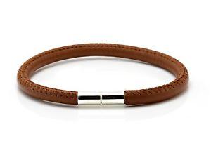 【送料無料】メンズブレスレット メンズレディースナッパレザーシルバーツイストブラウンmensladies 5mm nappa leather braceletsterling silver twist clasplight brown