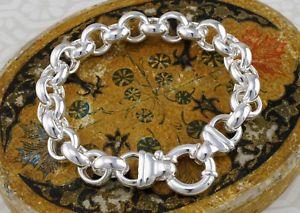 【送料無料】メンズブレスレット スターリングシルバーラウンドリンクベルチャーブレスレットインチ925 sterling silver round chunky large rolo links belcher bracelet 8 inches