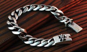 【送料無料】メンズブレスレット スターリングバイカーリンクアンカーチェーンブレスレット fleur de lis 925 sterling fine silver biker curb link anchor chain bracelet