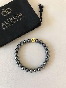 【送料無料】メンズブレスレット 8mmブレスレット サイズapproxサイズ73aurum brothers 8mm classic gold hematite bracelet approx size 73 resizable
