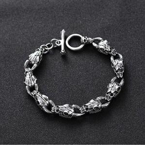 【送料無料】メンズブレスレット ソリッドスターリングシルバーメンズリンクヤギスカルチェーンカフブレスレットsolid 925 sterling silver mens heavy linked goat skull chain cuff bracelet
