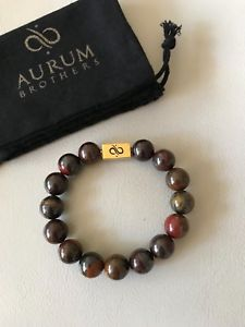 【送料無料】メンズブレスレット オーラムクラシックゴールドブレスレットサイズサイズaurum brothers 12mm classic gold tiger iron bracelet size 72 resizable