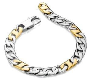 【送料無料】メンズブレスレット フレッドベネットステンレススチールゴールドメンズリンクブレスレットfred bennet 875 stainless steel amp; gold mens contemporary curb link bracelet