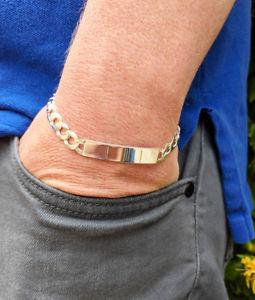 【送料無料】メンズブレスレット スターリング85ブレスレットpersonalised men's solid sterling silver curb identity bracelet 85