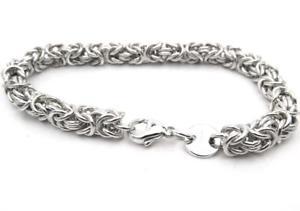 【送料無料】メンズブレスレット ソリッドシルバーインチビザンチンブレスレットフリー solid silver 8 inch byzantine bracelet hand crafted in the uk free pamp;p