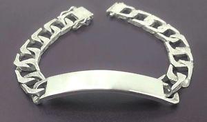 【送料無料】メンズブレスレット ビンテージスターリングシルバーブレスレットミリvintage sterling silver id bracelet men boys 8 bark effect 10mm hmk1978 31g
