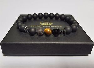 【送料無料】メンズブレスレット ビーズブレスレットマットクリスタルタイガーアイビーズmens genuine beaded bracelet all 8mm matte crystal tiger eye beads 3