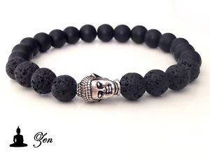 【送料無料】メンズブレスレット ブレスレットヘッドミックスオニキスシルバーbracelet zen head buddha amp; mix stone lava onyx 8mm man silver