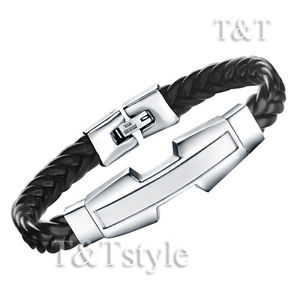 【送料無料】メンズブレスレット unique tt 316ポンドステンレスidブラックブレスレット qb07