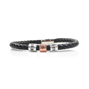 【送料無料】メンズブレスレット スタンプリングブレスレットbest dad leather bracelet with hand stamped rings free delivery