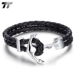 【送料無料】メンズブレスレット ステンレススチールアンカーブレスレットtt leather 316l stainless steel anchors bracelet br227
