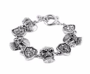 【送料無料】メンズブレスレット ステンレスシールドブレスレットアメリカmens biker stainless steel skull shield bracelet usa seller