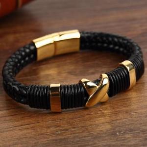 【送料無料】メンズブレスレット ダブルレザーブレスレッツステンレス arrival trendy double braided leather bracelets men stainless steel gold fur