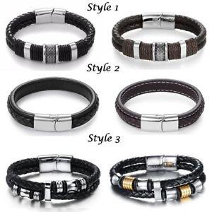 【送料無料】メンズブレスレット mensブレスレットクリスマスmens leather bracelet engraved clasp personalised christmas birthday gifts