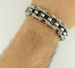 【送料無料】メンズブレスレット ワイドステンレススチールチェーンブレスレットハーレーダビッドミスタースカル34 wide stainless steel chain bracelet tri color 95 harley mister skull 2012