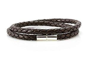 【送料無料】メンズブレスレット メンズダブルレザーmens 5mm double wrapped leather braceletsterling silver claspdark brown