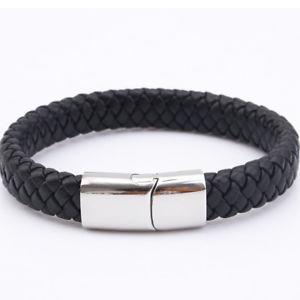 【送料無料】メンズブレスレット メンズレザーブレスレットステンレススチールクリスマスmens leather bracelet engraved stainless steel clasp personalised christmas gift