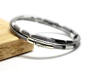 【送料無料】メンズブレスレット メンズカムフラージュmens camouflage braceletgenuine leathersterling silver claspgrey camo wrap