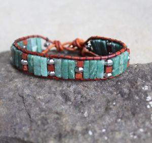 【送料無料】メンズブレスレット アフリカレザーブレスレットトグルmens african jade beaded brown leather wrap bracelet wood beads toggle clasp