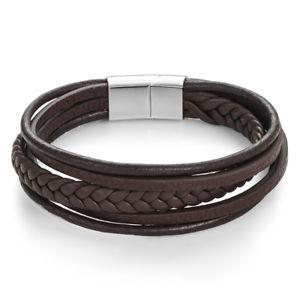 【送料無料】メンズブレスレット クリスマスブラウンマルチストランドブレスレットパーソナライズクラスプchristmas gifts brown leather multi strand bracelet personalised engraved clasp