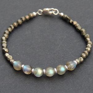 【送料無料】メンズブレスレット メンズブレスレットヒーリングハンドメイドメートルmens bracelet healing gemstons pyrite labradorite sterling silver handmade 536m