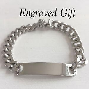 【送料無料】メンズブレスレット free engravingステンレスidリンクブレスレットpersonalised silver stainless steel id curb link bracelet with free engraving
