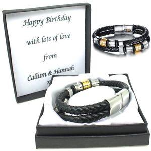 【送料無料】メンズブレスレット メンズレザーブレスレットクラスプパーソナライズクリスマスmens leather bracelet engraved clasp personalised birthday christmas gifts