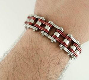 【送料無料】メンズブレスレット メンズステンレススチールダブルリンクバイクチェーンブレスレットアメリカmens stainless steel double link red silver bike chain bracelet usa seller