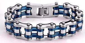 【送料無料】メンズブレスレット ステンレスバイクチェーンブレスレットアメリカmens stainless steel double link silver blue bike chain bracelet usa seller
