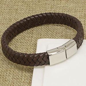 【送料無料】メンズブレスレット イタリアブレスレットクラスプboys mens brown chunky italian leather plaited bracelet steel magnetic clasp
