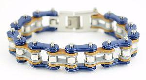 【送料無料】メンズブレスレット ステンレスグレーシルバーバイクチェーンブレスレットmens stainless steel blue grey silver bike chain bracelet us seller