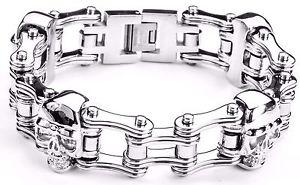 【送料無料】メンズブレスレット ステンレスバイクチェーンブレスレットアメリカmens stainless steel double link skull silver bike chain bracelet usa seller