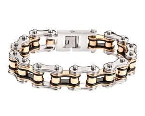 【送料無料】メンズブレスレット バイクチェーンブレスレットステンレススチールヘビーメタルbike chain bracelet stainless steel heavy metal design by skull bones jewelry