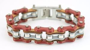 【送料無料】メンズブレスレット メンズステンレススチールレッドグレーシルバーバイクチェーンブレスレットmens stainless steel red grey silver bike chain bracelet us seller