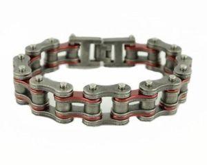 【送料無料】メンズブレスレット ステンレススチールキャンディレッドシルバーバイクチェーンブレスレットstainless steel candy red amp; antiqued worn silver bike chain bracelet us seller