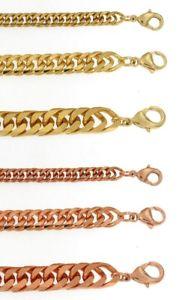 【送料無料】メンズブレスレット ブレスレットチェーンゴールドbracelet doublecurb chain gold or rosegold plated or doubl women men jewelry