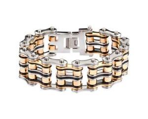 【送料無料】メンズブレスレット アメリカワイドステンレススチールチェーンバイクブレスレットusa seller heavy tricolor 1 wide stainless steel chain bike bracelet